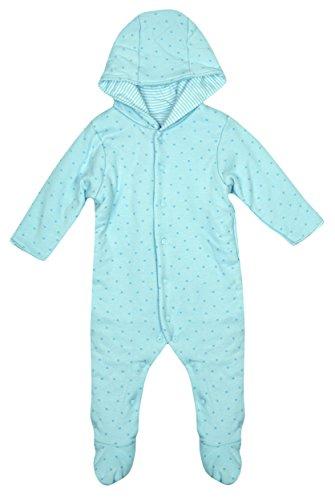 Baby Jungen Gepolsteter Sterne Motiv Schneeanzug Kinderwagenanzug BLAU größen von Neugeborene bis 12 Monate - Blau, Bis 62, Blau