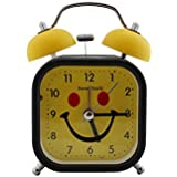 Twin Bell Alarm Clock Square Smiley Design - Yellow (1h178) - Kids Room Desk And Home Decor