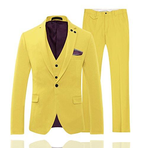 Abiti Uomo Completo Cerimonia Brillante Color Slim Fit Vestito di 3 Parti Giallo