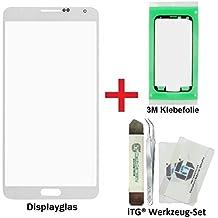 iTG® PREMIUM Juego de reparación de cristal de pantalla para Samsung Galaxy Note 3 Blanco (Classic White) - Panel táctil frontal oleofóbico para N9000 N9005 LTE + 3M Adhesivo precortado y iTG® Juego de herramientas