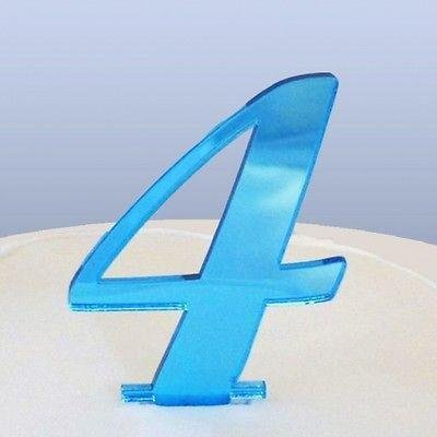 Number 4 Cake Topper Blue Acrylic Mirror in Script (6cm