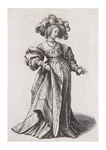 Spiffing Prints Hans The Younger - Basel Woman with Ostrich Feather - Medium - Archival Matte - Framed - Medium Ostrich