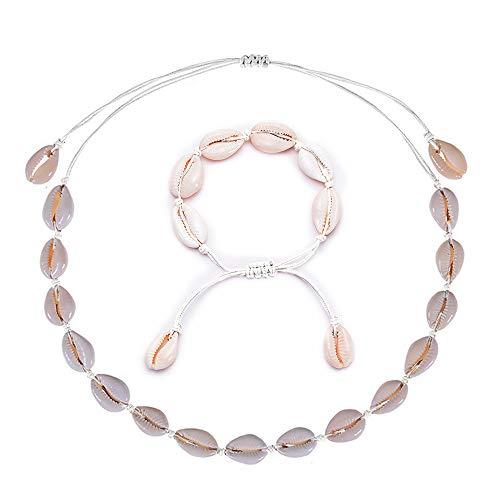 Natural Shell Choker Halsketten für Frauen Einstellbare Handgemachte Hawaii Halskette Armbänder Schmuck Set für Mädchen Lady Boho Schlüsselbein (#2 Shell Set)