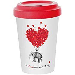 PPD Taza de Café para llevar taza TO GO Taza de Fibras de Bambú con Tapa 'Love carries all' 400 ml