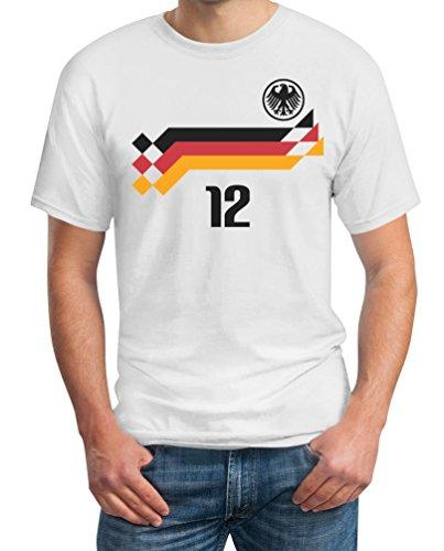 Deutschland Fussball Retro Trikot WM 1990 Cooles Fanshirt für WM 2018 T-Shirt XXXX-Large Weiß