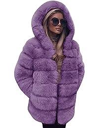 62deb1d832ff1 FNKDOR Women Fashion Luxury Fluffy Shaggy Long Sleeve Faux Fur Hooded Coat  Jacket with Pockets Autumn