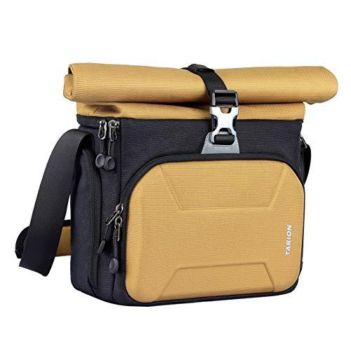 TARION XHS Kameratasche Fototasche Unisex DSLR Umhängetasche mit Hartschalen-Abdeckung und ausfaltbarem Oberteil für Spiegelreflexkamera und Zubehör