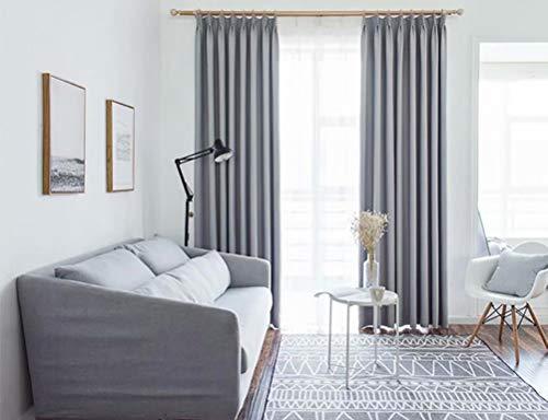 JBFKYUJM Europäischen Schatten Isolierung super weichen Vorhang für Wohnzimmer Schlafzimmer 168cmx229cm (Breite x Höhe) 2 Paneele grau (Windows Blackout-schatten Für)
