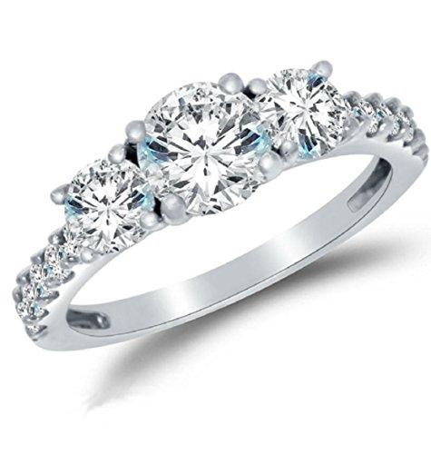 Gowe Echter Stein Drei moissanites Engagement Ringe für Frauen Solide 14K Weiß Gold (Diamant-moissanite Ring)
