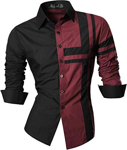 jeansian Herren Slim Fit Lang Ärmel Casual Button-Down Kleid Shirts 8397, Farbe Wine Red, Size XXL