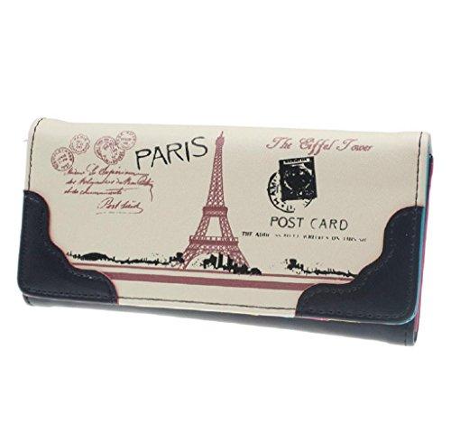 Geldbörsen, Rcool Süße Frauen Print Leder langen Tastendruck Wallet Card Inhaber Geschenk (Schwarz) (Prada Wallet Schwarz)