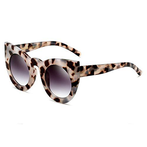 Taiyangcheng Cat Eear Round Frame Eye Sonnenbrille Mädchen Sexy Brillen Mode Übergroße Frauen Sonnenbrillen,Grauer Leopard