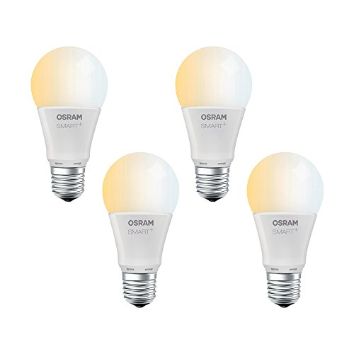 OSRAM Smart+ LED, ZigBee Lampe mit E27 Sockel, warmweiß bis tageslicht (2000K - 6500K), dimmbar, Direkt kompatibel mit Echo Plus und Echo Show (2. Gen.), Kompatibel mit Philips Hue Bridge, 4er Pack