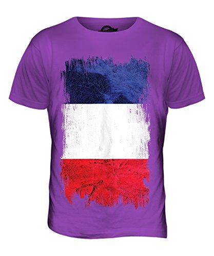 CandyMix Francia Bandiera Del Grunge T-Shirt da Uomo Maglietta Viola