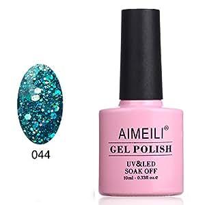 AIMEILI Soak Off UV LED Smalto in Gel Semipermanente con Brillantini - Diamond Glitter Teal Blue Green (044) 10ml