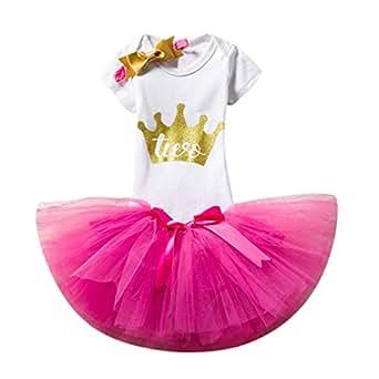 b721fc87c 🍡🍡Deloito Baby Girls Outfits Short Sleeve Romper + Layered Tutu Tulle  Skirt Dress + Bowknot Headband Princess Infant Toddler 3PCS Tutu Princess  Dress ...