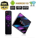 ndroid 9.0 TV Box, Android BOX 4GAndroid 9.0 TV Box, Android BOX 4GB RAM 64GB ROM H6 Quad core corex-A53 Supporto 3D 8K Ultra HD H.265 WiFi 2.4 GHz Ethernet HDMI Smart TV BOX con Remote Control
