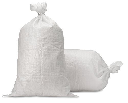 Sand Bags - Empty White Woven Polypropylene Sandbags w/ Ties, w/ UV Protection; size: 14