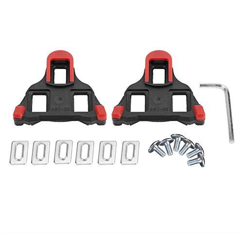 VGEBY1 1 Paar Bike Cleats, Selbstsichernde Fahrrad Pedal Cleats Radfahren Pedal Adapter mit Schrauben, Unterlegscheiben, Schraubenschlüssel für Rennrad Mountainbike(Rot)