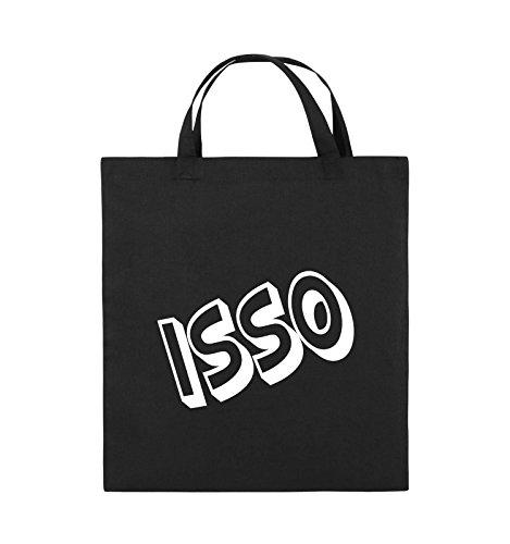 Comedy Bags - ISSO - COMIC SCHIEF - Jutebeutel - kurze Henkel - 38x42cm - Farbe: Schwarz / Silber Schwarz / Weiss