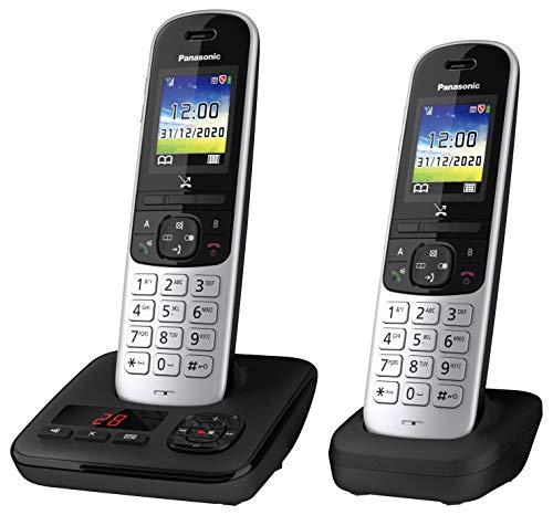 Panasonic Schnurlostelefon KX-TGH722GS mit Anrufbeantworter und zusätzlichem Mobilteil, Babyphone und Eco Plus Modus
