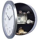 Reloj de pared con caja fuerte, discreto, permite ocultar objetos, diseño con bisagras, reloj real