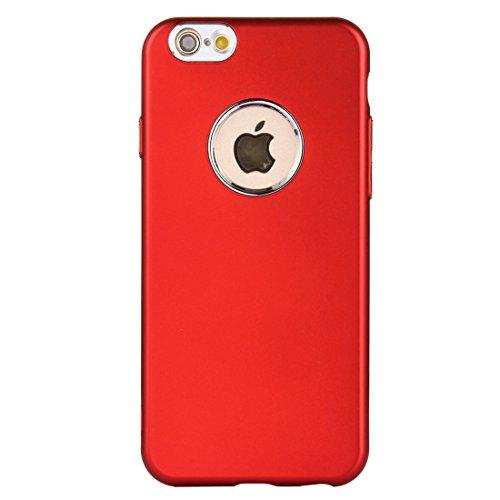 Wkae Reiner Farben-Öl-Auslauf-weicher TPU-Metallknopf-schützender Fall-rückseitige Abdeckung für iPhone 6 u. 6s ( Color : Blue ) Red