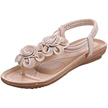 Beladla Sandalias Mujer Planas CóModo Resistente Bohemia Clip Toe Dulce con Cuentas Zapatillas Casuales Zapatos De