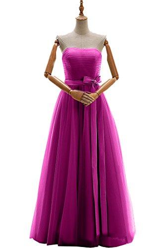 Gorgeous Bride Elegant Traegerlos A-Linie Satin Tuell Lang Abendkleider Brautjungfernkleid Festkleider Fuchsia
