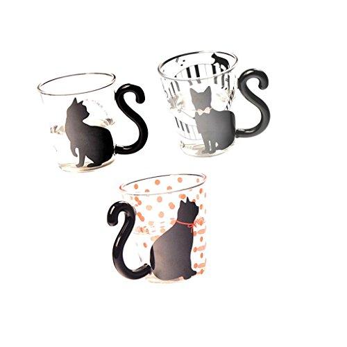 Gazechimp Venta Caliente 3 Pedazos Taza Cristal de Té Agua Leche con Dibujo Animado Gato Creativa Linda