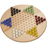 Chinese Checkers - Solid Maple Wood with Glass Marbles - 11 inch (Made in USA)