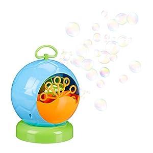 Relaxdays Máquina Burbujas para Niños con Pilas, Plástico, Azul, 20 x 18 cm, Color (10024316_45)