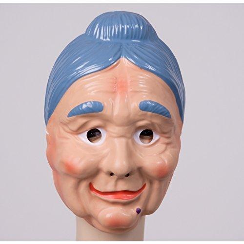 Oma Maske mit blauen Haaren Fesche Großmutter Gesichtsmaske Alte Frau Maske Omamaske Grandma Faschingsmaske Karnevalsmaske (Alte Maske)