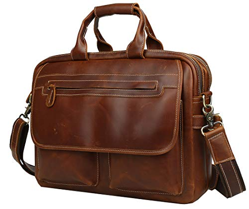 Vater 's Day Geschenk Macht. iswee Vintage Herren Aktentasche Leder Messenger Bag 35,6 cm Oder 40,6 cm Oder 43,2 cm Laptop Taschen Attache Fall Reisetasche Red Waxy Large Size-Fit 16