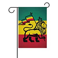 AMONKA Judah Lion With Rastafari Flag King Jungle Reggae Theme Art Print Garden Flag Double Sided Polyester Yard Flag for Home House Outdoor Decoration 12x18 Inch