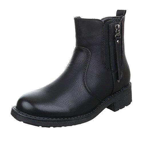 Damen Schuhe Used Optik Schlupfstiefel Komfort Stiefeletten Stiefeletten Blockabsatz Schwarz