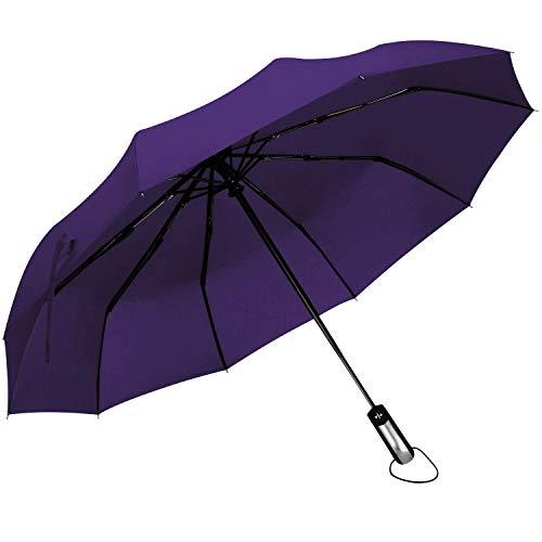 DORRISO Automatico Ombrello Pieghevole 10 Aste Rinforzate Manico Antiscivolo Antivento Impermeabile Anti-UV Multiuso Viaggio Ombrello Uomo Donna Ombrello