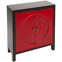 TARSI - Mueble Auxiliar - Cónsola ORIENTAL II Negro/Rojo 2 Puertas - iBERGADA