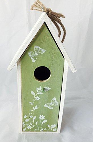 Vogelhaus Nistkasten aus Holz grün zum hängen mit Schmetterlingen mit herausnehmbarem Innenteil und Futtertrog innen, 25cm x 9cm x 8cm Gesamtlänge ca. 50cm dank Kordel zum hängen, - 3