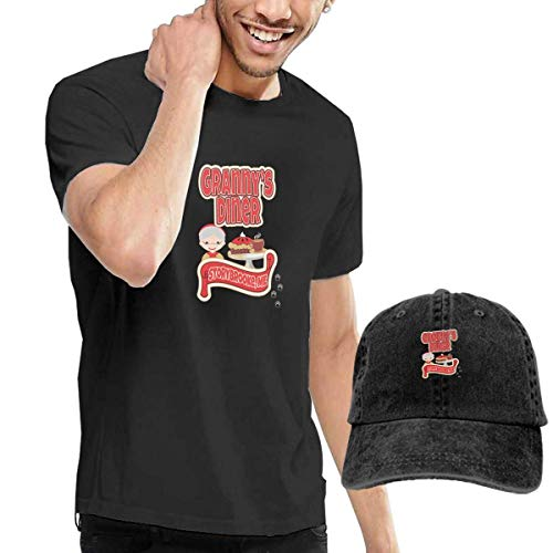SOTTK Herren Kurzarmshirt Granny's Diner Men's Short Sleeve T Shirt & Washed Adjustable Baseball Cap Hat