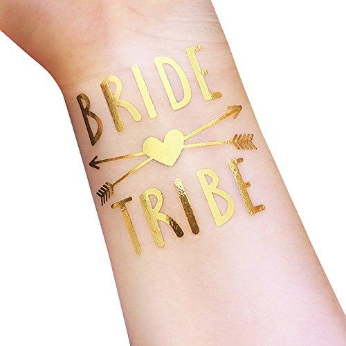 Tatuaggi temporanei, tribù del bachelorette e della sposa tatuaggi temporanei, 12-pack sposa e sposa da squadra, forniture per party e accessori favori (t34, t35)