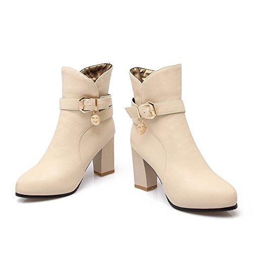AllhqFashion Damen Hoher Absatz Spitz Zehe Weiches Material Reißverschluss Stiefel Cremefarben