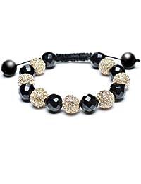 Bling Bijoux Plaqué or 12mm Onyx Bracelet style Shamballa