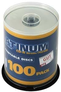 Platinum CD-R 700 MB Bedruckbare CD-Rohlinge (52x Speed, 80 Min) 100er Spindel