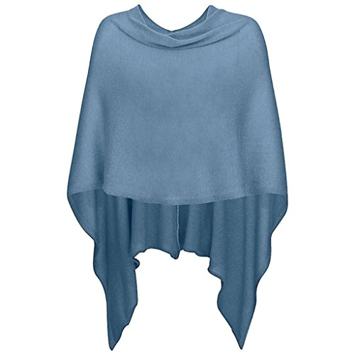 221 Mississhop Damen Poncho Cape Überwurf Strickjacke Feiner Weicher Strick Pullover Herbst Winter One Size Blau