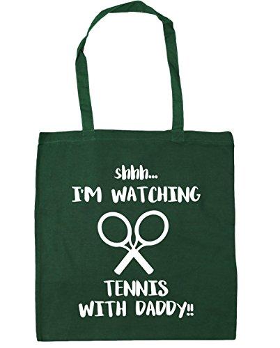 Green Clay Tennis (hippowarehouse Shhh... I 'm Watching Tennis mit Daddy. Tote Shopping Gym Beach Bag 42cm 3838, 10Liter, flaschengrün, One Size)