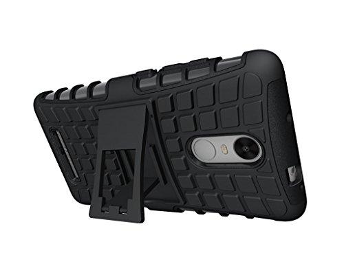 KickAss Tough Hybrid Armor Back Cover Case with Kickstand Back Case Cover For Xiaomi Redmi Note 3 (Black)