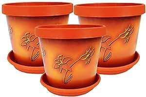 Set di 3 vasi da fiori con sottovaso, in terracotta, 22 cm Terracotta flower