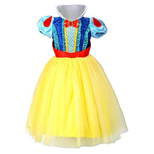 HAWEE Schneewittchen Prinzessin Kleid Mädchen Kleider (6-7 Jahre/140cm)