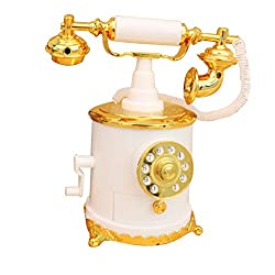 Imported Vintage Dial Telephone Mechanical Music Box - White